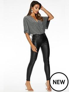 quiz-sam-faiers-batwing-wrap-bodysuit-silver-black