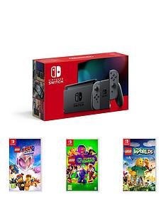 nintendo-switch-nintendo-switch-grey-console-improved-battery-with-lego-movie-2-lego-dc-super-villains-and-lego-worlds