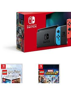 nintendo-switch-nintendo-switch-neon-console-improved-battery-with-lego-harry-potter-collection-lego-marvel-superheroes-2-and-lego-worlds