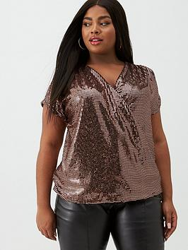 V by Very Curve V By Very Curve Sequin Wrap Front Top - Bronze Picture