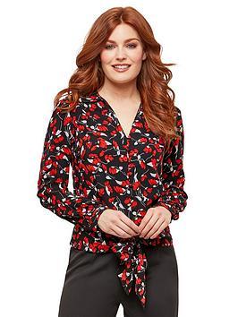 Joe Browns Joe Browns Floral Tie Waist Blouse - Black Red Picture