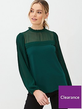oasis-pleat-sleeve-plain-blouse-deep-green
