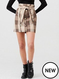 river-island-river-island-check-button-detail-paperbag-mini-skirt-brown