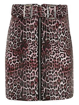 river-island-girls-leopard-print-belted-skirt-brown