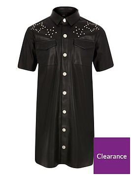 river-island-girls-faux-leather-studded-dress-black
