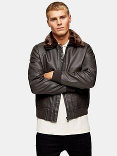 topman-topman-faux-leather-fur-collar-flight-jacket