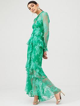 V by Very V By Very Lace Ruffle Front Maxi Dress - Green Picture
