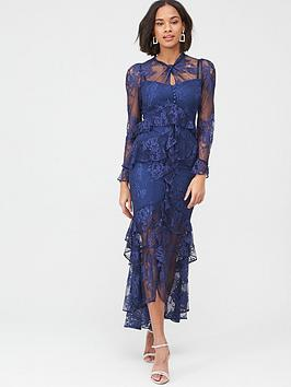 V by Very V By Very Lace Ruffle Front Maxi Dress - Navy Picture