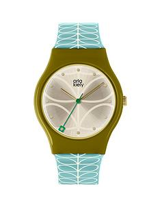 orla-kiely-orla-kiely-bobby-champagne-and-olive-green-dial-sky-blue-and-white-stem-print-strap-ladies-watch