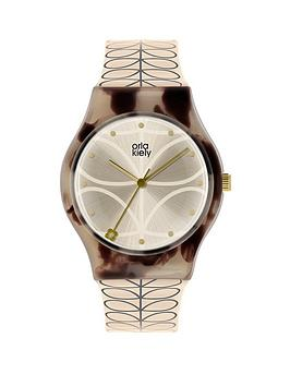 orla-kiely-orla-kiely-bobby-champagne-and-mink-tortoise-shell-dial-cream-and-grey-stem-print-strap-ladies-watch