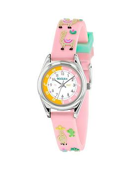 Tikkers Tikkers Tikkers White Dial Pink Llama Print Strap Kids Watch Picture