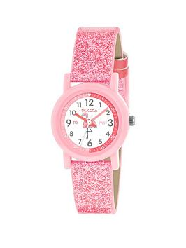 Tikkers Tikkers Tikkers White And Pink Detail Flamingo Dial Pink Glitter  ... Picture