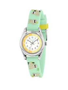 tikkers-tikkers-white-dial-green-sloth-print-strap-kids-watch
