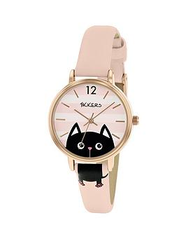 tikkers-tikkers-pink-and-white-stripe-cat-dial-pink-leather-strap-kids-watch