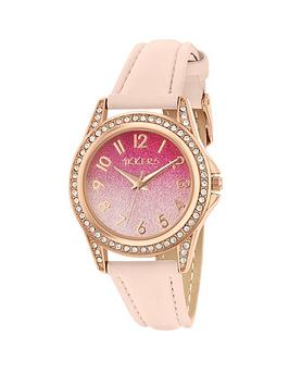 Tikkers Tikkers Tikkers Pink Ombre Glitter Crystal Set Dial Pink Leather  ... Picture