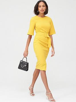 V by Very V By Very Covered Buckle Kimono Sleeve Dress - Yellow Picture
