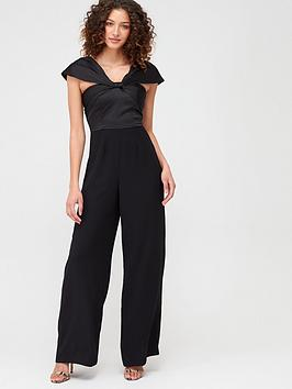 V by Very V By Very Drape Wide Leg Jumpsuit - Black Picture