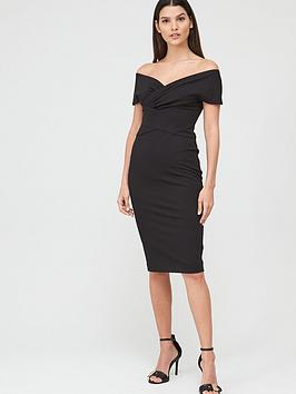 V by Very V By Very Ruched Front Pencil Dress - Black Picture