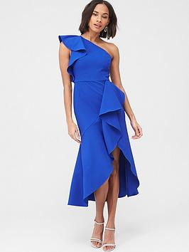 V by Very V By Very Ruffle Front Structured Dress - Blue Picture