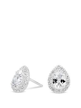 Simply Silver Simply Silver Simply Silvercubic Zirconia Pear Halo Studs Picture