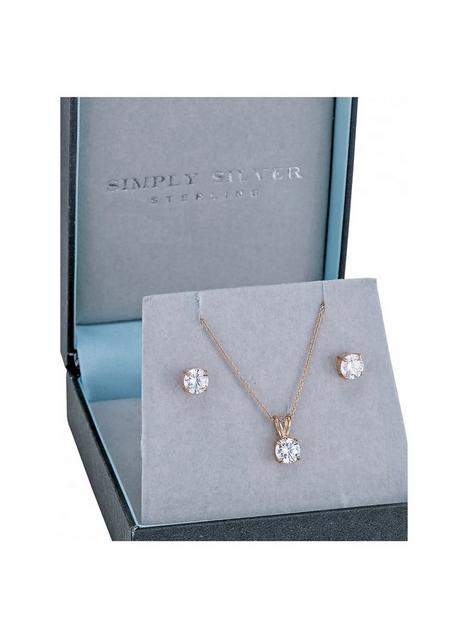 simply-silver-14ct-rose-gold-plated-classic-6mm-round-cubic-zirconia-set