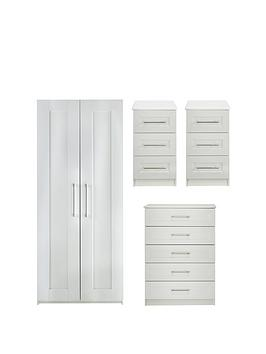 Frodsham Ready Assembled 4 Piece Package - 2 Door Wardrobe, 5 Drawer Chest And 2 Bedside Chests