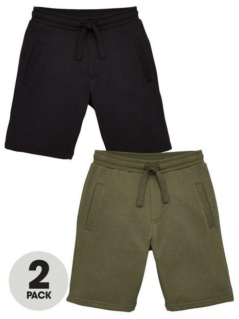 v-by-very-boys-essential-2-pack-jog-shorts-blackkhaki