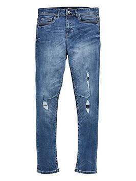 V by Very V By Very Boys Patch Rip Skinny Jeans - Blue Picture