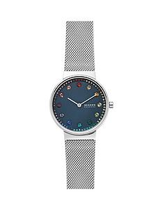 skagen-skagen-blue-and-rainbow-dot-dial-stainless-steel-mesh-strap-ladies-watch