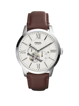 Fossil Fossil Fossil White Skeleton Eye Dial Brown Leather Strap Mens Watch Picture