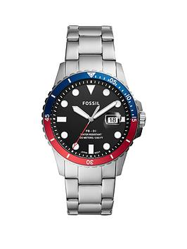 Fossil Fossil Fossil Black Date Dail With Red Blue Bezel And Stainless  ... Picture