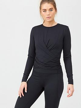 V by Very V By Very Activewear Wrap Detail Ballet Top - Black Picture