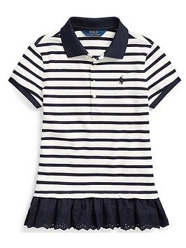 Ralph Lauren Ralph Lauren Girls Short Sleeve Stripe Ruffle Hem Polo Picture