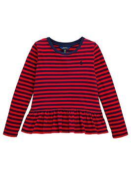 Ralph Lauren Ralph Lauren Girls Long Sleeve Stripe Peplum T-Shirt - Red Picture