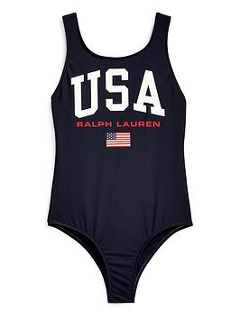 Ralph Lauren Ralph Lauren Girls Usa Polo Swimsuit Picture