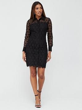 V by Very V By Very Lace Short Shirt Dress - Black Picture