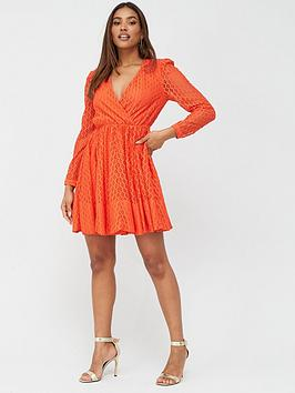 V by Very V By Very Lace Wrap Skater Dress - Red Picture