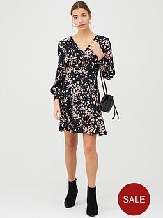 whistles-mottled-animal-button-front-dress-pinkmulti