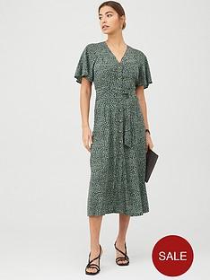 whistles-anita-spotted-animal-frill-sleeve-dress-greenmulti