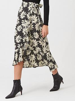 WHISTLES Whistles Starburst Floral Wrap Skirt - Black/White