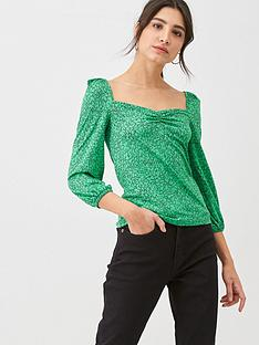 whistles-sketched-floral-sweetheart-neck-top-green
