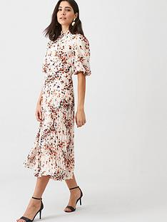 whistles-mottled-animal-pleated-dress-creammulti