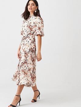 WHISTLES Whistles Mottled Animal Pleated Dress - Cream/Multi Picture