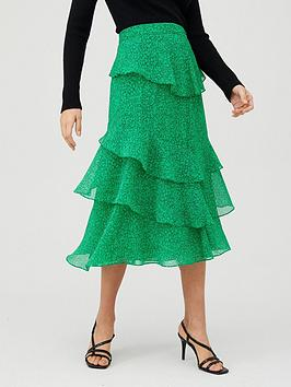 WHISTLES Whistles Sketched Floral Tiered Skirt - Green/Multi Picture