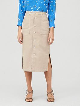 WHISTLES Whistles Utility Denim Skirt - Stone Picture