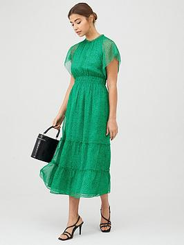 WHISTLES Whistles Sketched Floral Frill Sleeve Dress - Green/Multi Picture