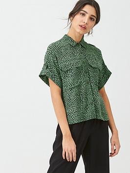 WHISTLES Whistles Spotted Animal Print Pocket Shirt - Green Picture