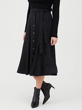 WHISTLES Whistles Marissa Button Through Skirt - Black Picture