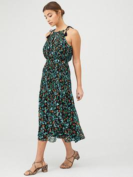 WHISTLES Whistles Forest Floral Halter Midi Dress - Blue/Multi Picture