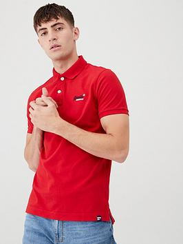 Superdry Superdry Classic Pique Short Sleeved Polo Shirt - Red Picture